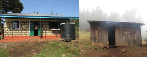L: A typical school cookhouse. R: Michaka Primary School's beautiful new cookhouse sponsored by the Souris Village Feast.