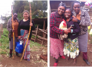 First photo: From left, Charity (translator from Joy), and Mireyne posing with sugarcane Second photo: Delfina (member of Joy) offering a chicken to Charity and I.