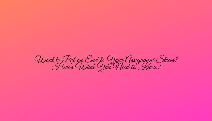Want to Put an End to Your Assignment Stress? Here's What You Need to Know!